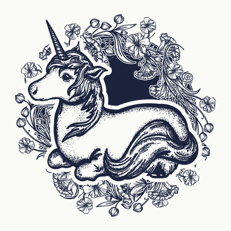 Unicorn and art nouveau flowers tattoo, print, t-shirt design. Symbol of dreams, tales, fantasies. Unicorn t-shirt design
