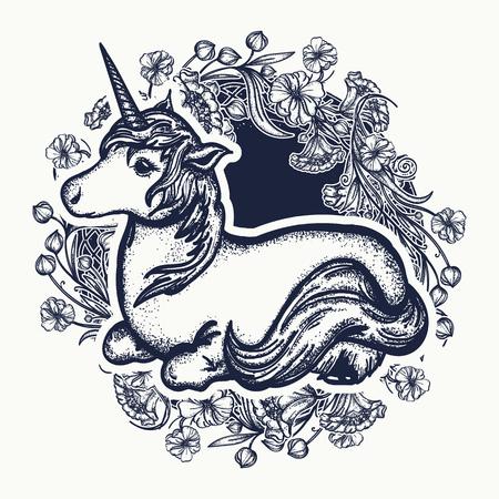 Unicorn and art nouveau flowers tattoo, print, t-shirt design. Symbol of dreams, tales, fantasies. Unicorn t-shirt design