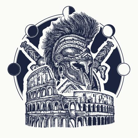 El casco espartano cruzó las espadas, el escudo espartano y el tatuaje del Coliseo. Símbolo de la antigua Roma, las luchas de gladiadores. Antigua Roma y la antigua Grecia concepto tatuaje de la guerra y el diseño de la camiseta