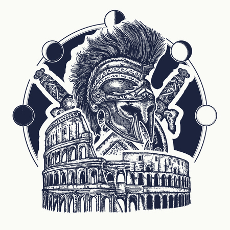 Spartan helmet crossed swords, spartan shield and Colosseum tattoo. Symbol of Ancient Rome, gladiatorial fights. Ancient Rome and ancient Greece concept war tattoo and t-shirt design
