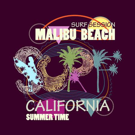 서핑 티셔츠 아트. 서핑 캘리포니아 말리부 해변 패션 인쇄술 티셔츠 인쇄 일러스트