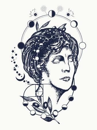 Design de tatuagem e t-shirt de cientista. Tatuagem de ciência e educação. Estátua de Afrodite. Símbolo do conhecimento, poesia, ciência, filosofia, psicologia. Tatuagem de Afrodite deusa de mulher mágica Ilustración de vector