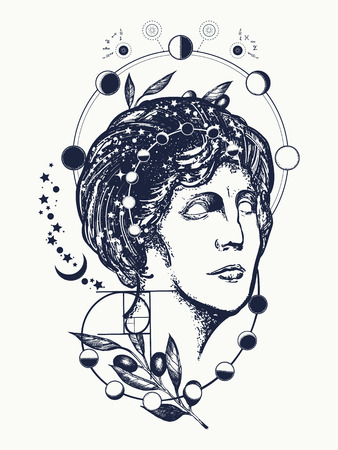Scientist  tattoo and t-shirt design. Science and education tattoo. Statue of Aphrodite. Symbol of knowledge, poetry, science, philosophy, psychology. Magic woman goddess Aphrodite tattoo