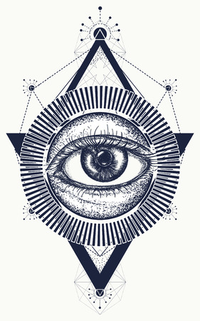All seeing eye tattoo art vector. Freemason and spiritual symbols. Alchemy, medieval religion, occultism, spirituality and esoteric tattoo. Magic eye t-shirt design Stok Fotoğraf - 83107401