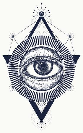 Todo el ojo que ve arte del tatuaje vector. Freemason y símbolos espirituales. Alquimia, religión medieval, ocultismo, espiritualidad y tatuaje esotérico. Diseño mágico de la camiseta del ojo Ilustración de vector