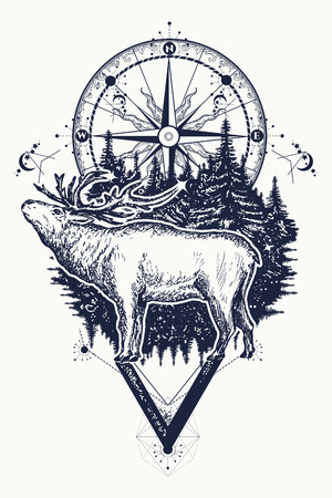latitude: Reindeer and compass tattoo. Deer and compass ethnic tribal tattoo. Adventure, travel, outdoors, symbol. Tattoo for travelers, climbers, hikers, wild forest