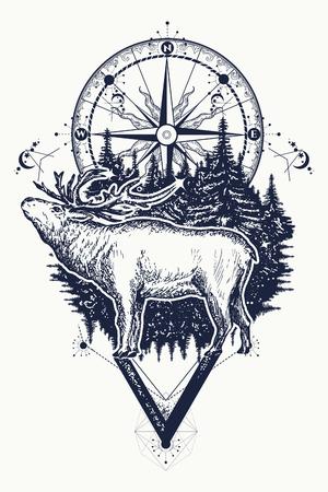 Rendier en kompas tatoeage. Etnische stammentatoegering van herten en kompassen. Avontuur, reizen, buitenshuis, symbool. Tatoeage voor reizigers, klimmers, wandelaars, wild bos