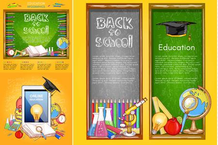 Volver a la colección de la bandera de la escuela, educación en línea, herramientas de la escuela elementos banner de la educación Ilustración de vector