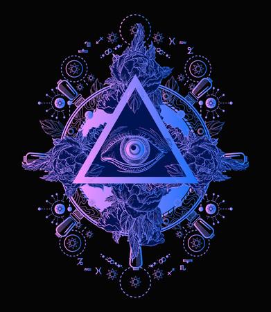 Todo el cartel de la pirámide del ojo que ve y diseño de la camiseta. Freemason y símbolos espirituales. Alquimia, religión medieval, ocultismo, espiritualidad y tatuaje esotérico. Diseño mágico de la camiseta del ojo