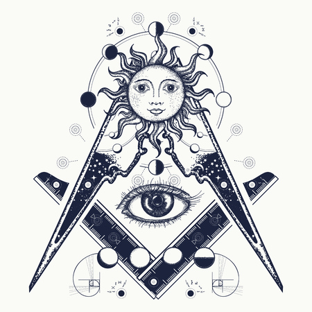 Masonic symbol tattoo and t-shirt design. All seeing eye. Alchemy, medieval religion, occultism, spirituality and esoteric tattoo. Magic eye t-shirt design. Mysteries of knowledge of mankind Ilustração