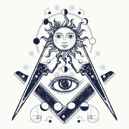 Tatouage symbole maçonnique et design t-shirt. Oeil qui voit tout. L'alchimie, la religion médiévale, l'occultisme, la spiritualité et le tatouage ésotérique. Conception de t-shirt pour oeil magique. Mystères de la connaissance de l'humanité Banque d'images - 83161075