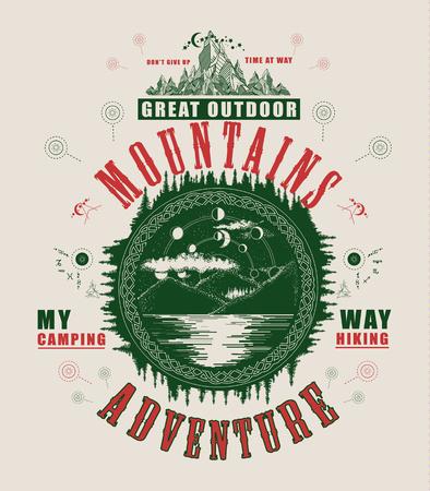 Affiche de lac de montagne et design de t-shirt. Symbole mystique du tourisme, du camping, du voyage. Phase lunaire sur le design du t-shirt lac de montagne. Tourisme, affiche extérieure Banque d'images - 83161078