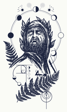 Scientist tattoo and t-shirt design. Great prophet, genius, creator of universe. Symbol of science, art, education, poetry, philosophy, psychology. God of knowledge tattoo Illustration
