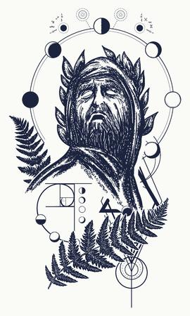 Wetenschapper tattoo en t-shirt design. Grote profeet, genie, schepper van universum. Symbool van wetenschap, kunst, onderwijs, poëzie, filosofie, psychologie. God van kennis tatoeage