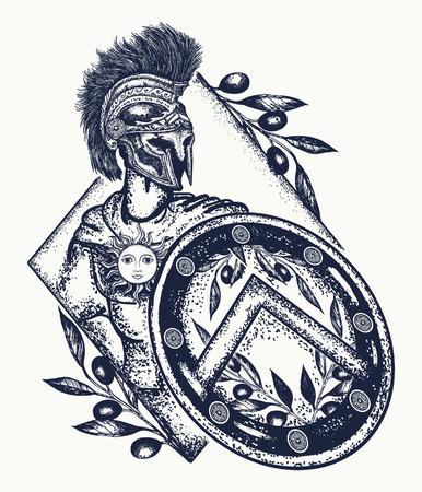 スパルタ戦士の入れ墨の芸術。古代ローマや古代ギリシャの入れ墨の軍団。勇気、力、軍隊、英雄のシンボルです。スパルタ戦士 t シャツ デザイン