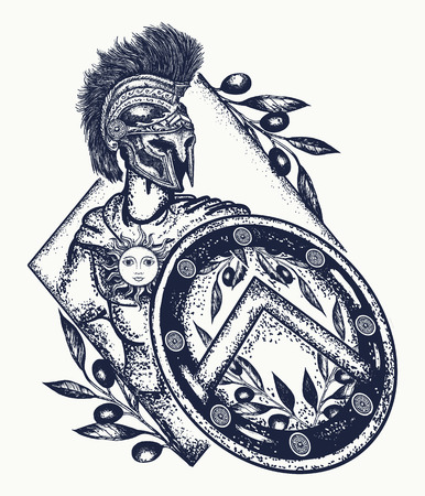 Spartan warrior tattoo art. Legionary of ancient Rome and ancient Greece tattoo. Symbol of bravery, force, army, hero. Spartan warrior t-shirt design