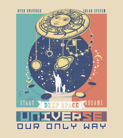 Universe poster. Human and Universe tattoo art. Symbol solar system, science, religion, astrology, astronomy. Boundless Universe, planets and stars t-shirt design. Father teaches the son to space