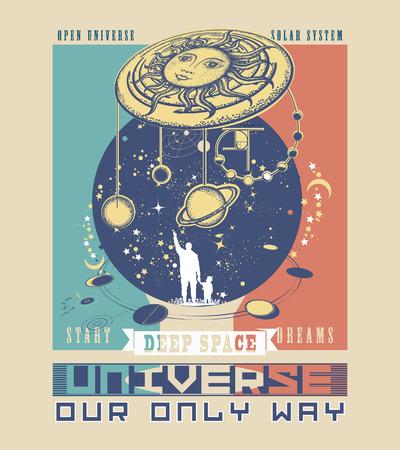 Universe poster. Tatoeage kunst van mens en universum. Symbool zonnestelsel, wetenschap, religie, astrologie, astronomie. Boundless Universe, planeten en sterren t-shirt design. Vader leert de zoon naar de ruimte Stock Illustratie