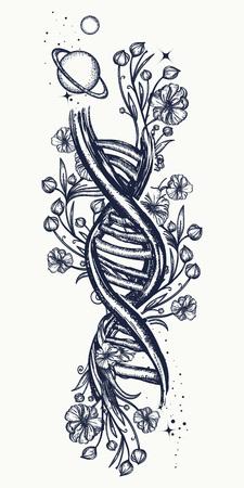 DNA-ketting en art nouveau bloemen tattoo. Symbool van kunst, wetenschap, kennis, geneeskunde, evoluties, levens en dood t-shirtontwerp. De surreal tatoegering van DNA en van bloemen