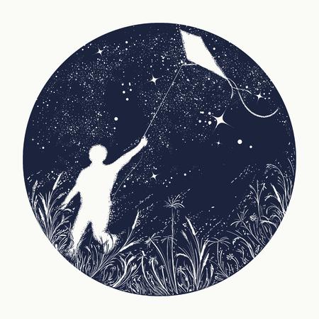 シルエット少年夜空タトゥーでカイトを飛行します。夢、幸福、動機、抱負、自由のシンボルです。少年は宇宙、t シャツ デザインの凧を飛ぶ