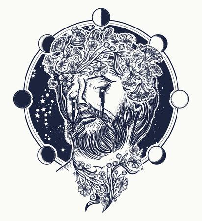 예수 그리스도 문신. 기독교,기도, 종교의 상징입니다. 하늘 문신과 티셔츠 디자인에 예 수 그리스도 초상화. 예언자는 초현실적 인 예술을 외칩니다.