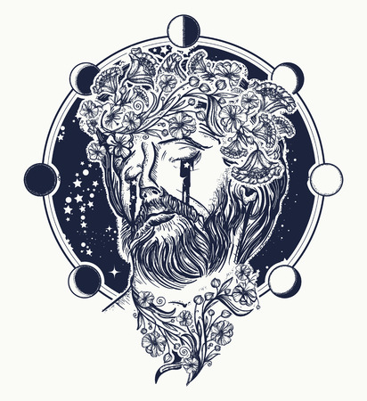 Jesus Christ tattoo. Symbol of christianity, prayer, religion. Jesus Christ portrait in sky tattoo and t-shirt design. Prophet cries stars surreal art