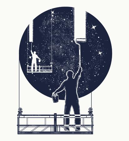 Glazenwassers wassen universum, surrealistische tatoeage. Symbool van verduidelijking, psychologie, creatieve kunst. Mensen maken universum schoon, werkers die het ontwerp van de vensterst-shirt wassen Stock Illustratie
