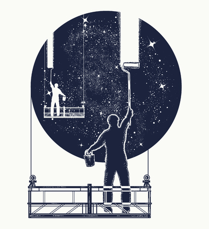 Window cleaners wash universe, surreal tattoo. Symbol of clarification, psychology, creative art. People clean Universe, workers washing windows t-shirt design Illustration
