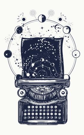 Schreibmaschinentätowierung. Symbol der Phantasie, Literatur, Philosophie, Psychologie, Phantasie. Antike Schreibmaschine mit Papierdrucken Universum, surreales T-Shirt-Design und Tattoo-Kunst Standard-Bild - 83487041