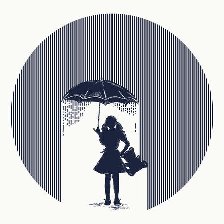 Meisje in regentatoegering. Symbool van bescherming van kinderen, depressie. Meisje met paraplu kosten in regen t-shirt ontwerp. Minimalistische tatoeage. Symbool van psychologie, filosofie, bescherming van kinderen Stock Illustratie