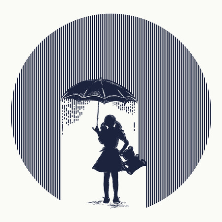 Girl in rain tattoo. Symbol of protection of children, depression. Girl with umbrella costs in rain t-shirt design. Minimalism tattoo. Symbol of psychology, philosophy, protection of children Vettoriali