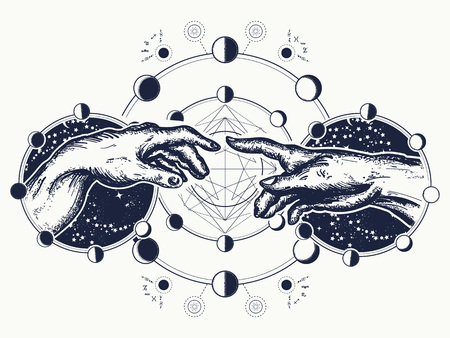 Hands tattoo Renaissance. Bog and Adam, symbol of spirituality, religion, connection and interaction.  Michelangelo Gods touch. Human hands touching with fingers tattoo and t-shirt design