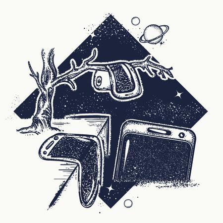 Surreale Tätowierung. Geschmolzene Telefone auf Baum Zweig. Symbol Internet der Abhängigkeit, moderne Technologien, Verbraucherverbände. Surrealismus Idee T-Shirt Design Standard-Bild - 83487062