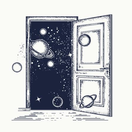 Open de deur in universe-tattoo. Symbool van verbeelding, creatief idee, motivatie, nieuw leven. Surrealistische tattoo open deur Stock Illustratie