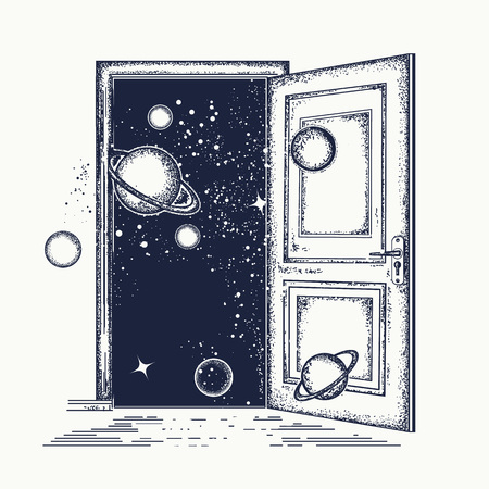Puerta abierta en el tatuaje del universo. Símbolo de la imaginación, idea creativa, motivación, nueva vida. Puerta abierta de tatuaje surrealista