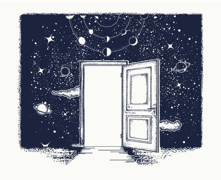 Open deurtatoegering. Symbool van verbeelding, creatief idee, motivatie, nieuw leven. Open de deur in het universum-t-shirtontwerp. Surrealistische tatoeage