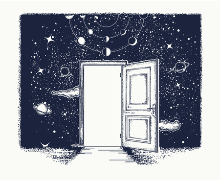 Open door tattoo. Symbol of imagination, creative idea, motivation, new life. Open door in universe t-shirt design. Surreal tattoo