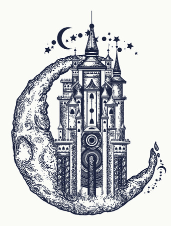 Medieval building on the moon tattoo. Symbol of the fairy tale, dream, magic. Medieval castle t-shirt design