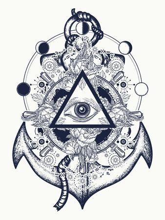 Alles sehende Augen Tattoo Kunst. Freimaurer und spirituelle Symbole. Alchimie, mittelalterliche Religion, Okkultismus, Esoteriktätowierung. Magisches Auge, Lenkrad und Anker T-Shirt Design Standard-Bild - 83872553