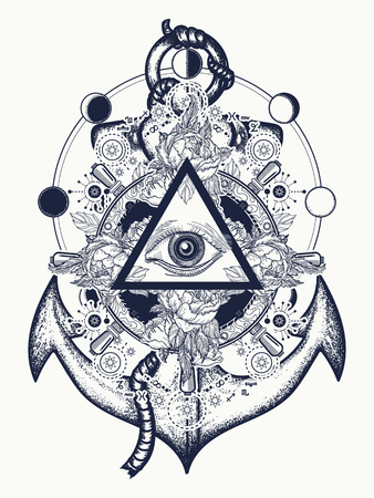 All seeing eye tattoo art . Freemason and spiritual symbols. Alchemy, medieval religion, occultism, esoteric tattoo. Magic eye, steering wheel and anchor t-shirt design