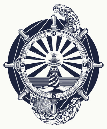 Lighthouse and sea, tattoo and t-shirt design. Lighthouse searchlight tower for maritime navigational guidance. Ocean wave art
