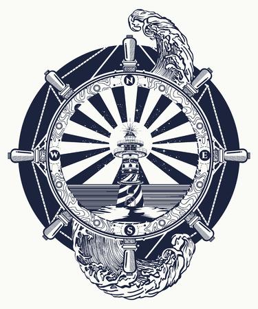 Ontwerp van vuurtoren en zee, tatoeage en t-shirt. Vuurtorenzoeklichttoren voor maritieme navigatiebegeleiding. Ocean wave art Stock Illustratie
