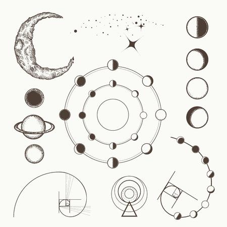 Alchemie, Symbole und Zeichen der Astrologie, Mondphasen, esoterische Planeten, Mond, goldener Schnitt. Gezeichnete mittelalterliche Elementsammlung der sakralen Geometrie Hand Standard-Bild - 83872576