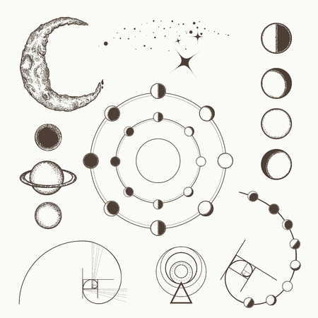 alquimia, símbolos y signos de la astrología, fases lunares, planetas esotéricos, luna, radio de oro. Geometría sacra dibujado a mano colección de elementos medievales.