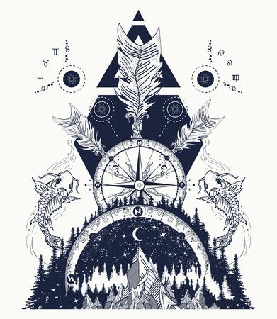 Montañas medievales rosa brújula, carpas y flechas cruzadas diseño de tatuaje y camiseta. Estilo boho, aventura, viaje. Tatuaje Trbal. Símbolos mágicos astrología, alquimia, meditación. Ilustración de vector
