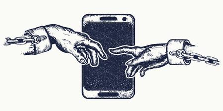手のタトゥーや t シャツをデザインします。人間の手の指で触れます。依存性、ソーシャル ネットワーク、現代消費社会のシンボル インターネット