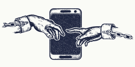 Hands tattoo and t-shirt design. Human hands touching with fingers. Symbol Internet of dependence, social networks, modern consumer society. Dependence on mobile phone Illustration