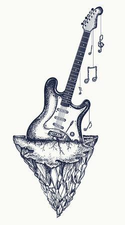 Gitaar en bergen tattoo en t-shirt ontwerp. Electrogitaar is uitgegroeid tot rock, symbool van hardrock, punkmuziek, rock and roll art
