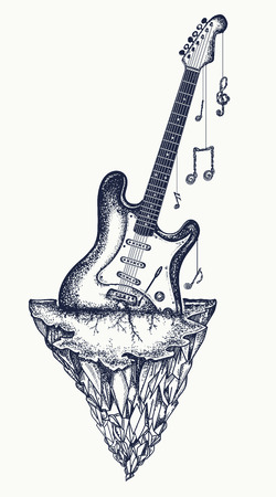 Guitar and mountains tattoo and t-shirt design. Electro guitar has grown into  rock, symbol of hard rock, punk music, rock and roll art Illustration