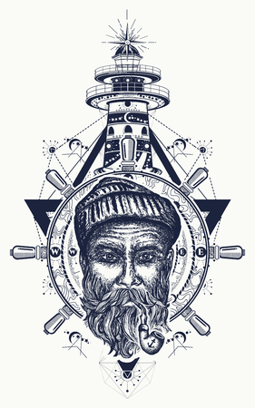 Old sailor, anchor, steering wheel, compass, lighthouse, tattoo art. Symbol of maritime adventure, tourism, travel. Old anchor, sea wolf and lighthouse t-shirt design